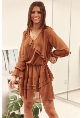Krátke volánové šaty, hnedé
