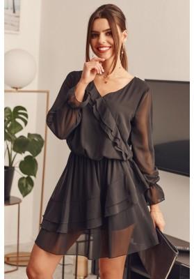 Krátke volánové šaty, čierne