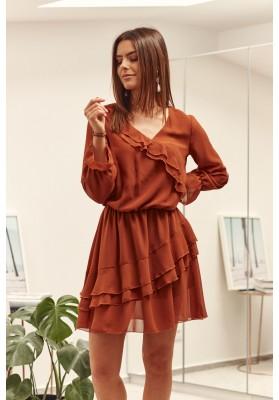 Krátke volánové šaty, oranžové
