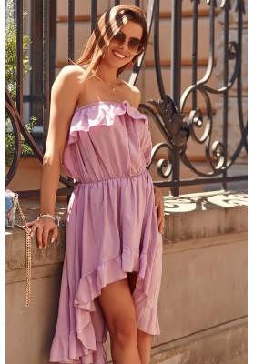 Asymetrické šaty s predĺženým zadným dielom, fialové