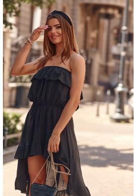 Asymetrické šaty s predĺženým zadným dielom, čierne