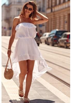 Asymetrické šaty s predĺženým zadným dielom, biele
