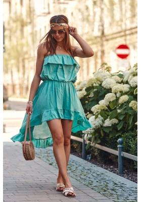 Asymetrické šaty s predĺženým zadným dielom, zelené