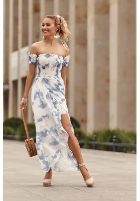 Asymetrické šaty s predĺženým zadným dielom, modré