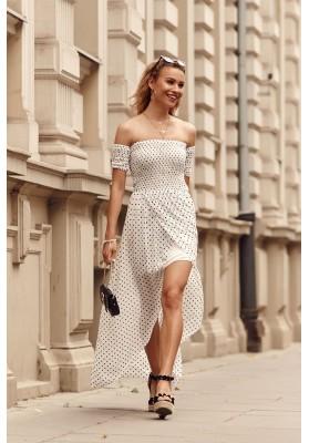 Asymetrické šaty s predĺženým zadným dielom, krémové