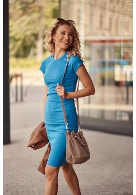 Fantastické, jednoduché šaty s krátkymi rukávmi, modré