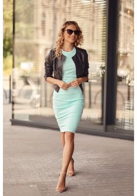 Fantastické, jednoduché šaty s krátkymi rukávmi, zelené