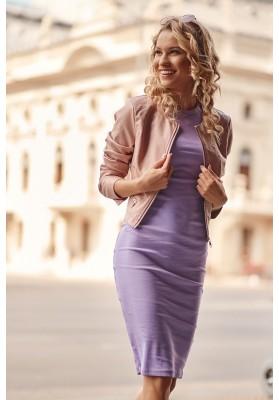 Fantastické, jednoduché šaty s krátkymi rukávmi, fialové