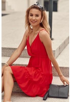 Jemné šaty s V výstrihom na tenkých nastaviteľných ramienkach, červené