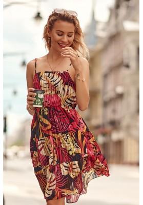Jemné šaty s rôznymi vzormi a s rovným výstrihom, ružové
