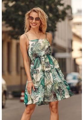 Jemné šaty s rôznymi vzormi a s rovným výstrihom, krémovozelené