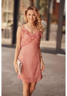 Letné šaty na tenké ramienka s ozdobným volánom v oblasti poprsia, ružové