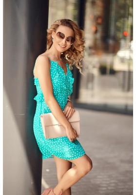 Letné šaty na tenké ramienka s ozdobným volánom v oblasti poprsia, modré