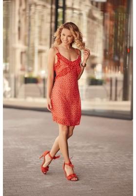 Letné šaty na tenké ramienka s ozdobným volánom v oblasti poprsia, červené
