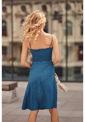 Šaty na tenké ramienka s V výstrihom ozdobeným viazaním, modré