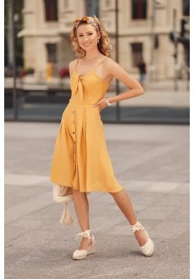 Šaty na tenké ramienka s V výstrihom ozdobeným viazaním, žlté