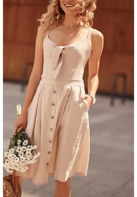 Šaty na tenké ramienka s V výstrihom ozdobeným viazaním, béžové