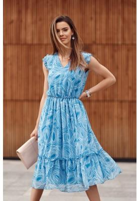 Midi šaty s oválnymi vzormi, modré