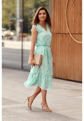 Midi šaty s oválnymi vzormi, zelené