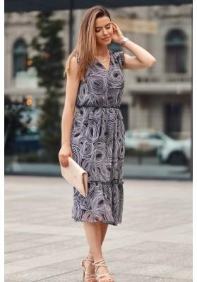 Midi šaty s oválnymi vzormi, čierne