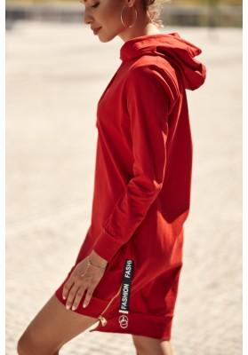 Minišaty/ Mikina s dlhými rukávmi a asymetrickým strihom, červená