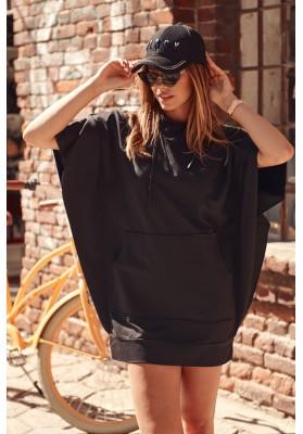 Nadčasové, športové šaty / tunika s kapucňou, čierna