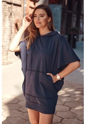 Nadčasové, športové šaty / tunika s kapucňou, modrá