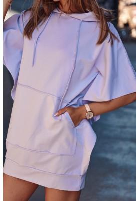 Nadčasové, športové šaty / tunika s kapucňou, fialová