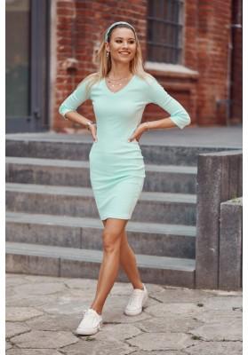 Bavlnené šaty s výstrihom v tvare V a ¾ rukávmi, zelené