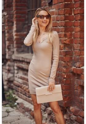 Dámske priliehavé šaty mini dĺžky, béžové