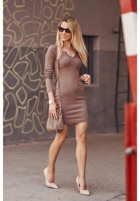 Dámske priliehavé šaty mini dĺžky, hnedé