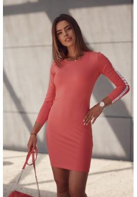 Hladké šaty s ozdobnými pruhmi na rukávoch, oranžové