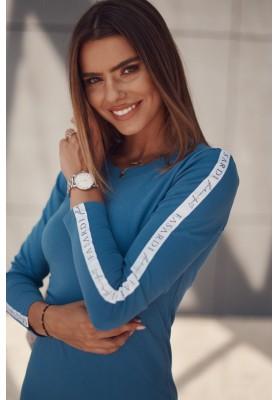 Hladké šaty s ozdobnými pruhmi na rukávoch, modré