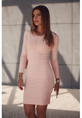 Hladké šaty s ozdobnými pruhmi na rukávoch, ružové