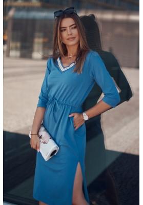 Dámske športové šaty s dĺžkou midi, v páse s gumičkou, modrá