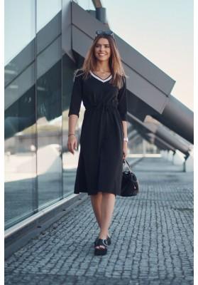 Dámske športové šaty s dĺžkou midi, v páse s gumičkou, čierne