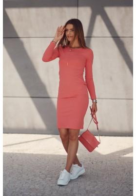 Základné dámske šaty s dlhými rukávmi, oranžové