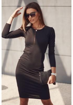 Základné dámske šaty s dlhými rukávmi, čierne