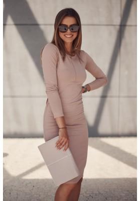 Základné dámske šaty s dlhými rukávmi, béžové