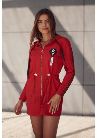 Moderná tunika s kapucňou zapínanou vpredu na zips, červená