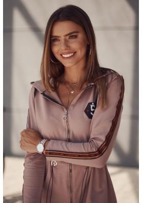 Moderná tunika s kapucňou zapínanou vpredu na zips, béžová