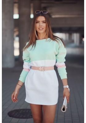 Zateplená tunika/šaty s dlhými rukávmi, lemom a vreckami, zelená