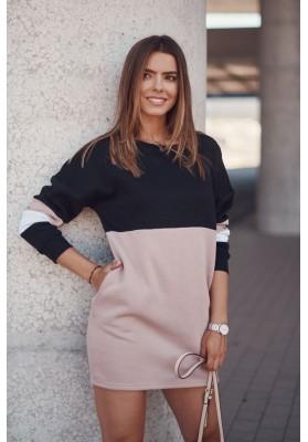 Zateplená tunika/šaty s dlhými rukávmi, lemom a vreckami, čierna