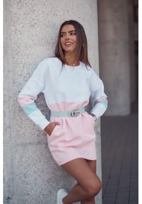 Zateplená tunika/šaty s dlhými rukávmi, lemom a vreckami, biela