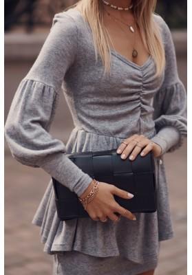 Sukienka z baskinką długi rękaw szara 0500