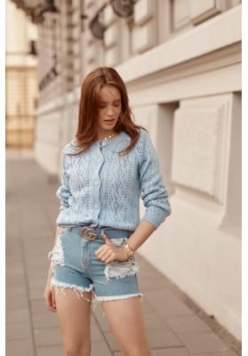 Unikátny sveter s jemným prelamovaným vzorom, modrý