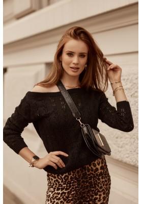 Moderný dámsky sveter s prelamovaným vzorom, čierny