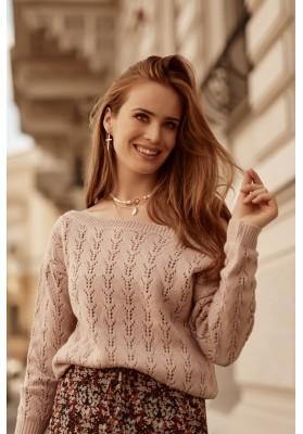 Moderný dámsky sveter s prelamovaným vzorom, ružový