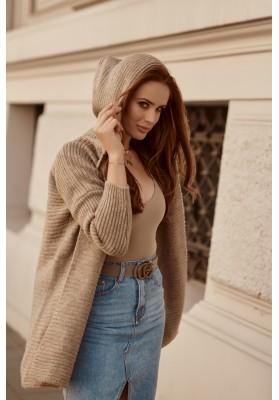 Teplý sveter s kapucňou, bez zapínania, hnedý