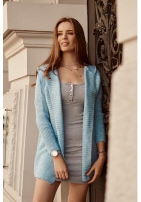 Teplý sveter s kapucňou, bez zapínania, svetlomodrý